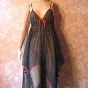 Bewitching Black Double Chiffon Vintage Hanky Hem Nightgown S M
