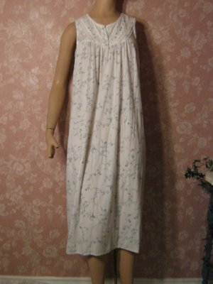 Vintage Nightgown  Cotton Sleeveless Lace Inset Blue floral S M openwork