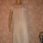Precious Pink Cotton Batiste Nightgown Long Lacy Feminine S M off shoulder