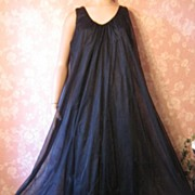 Vintage Nightgown Intime Black Double Chiffon Full Sweep goddess lingerie