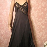 Vintage Nightgown Luxurious Black Denier Split front Strappy back S M pennys
