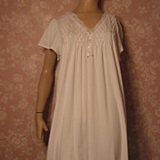 Vintage Lingerie Nightgown XL Pink Cotton Miss Elaine Embroidery Lace