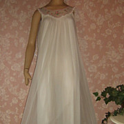 Vintage Nightgown Lingerie Miss Elaine White Chiffon Long S M Bridal Lace Embroidery