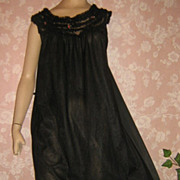 Vintage Nightgown 50s Black Sheer Nylon Ruffles of Chiffon Silky S M