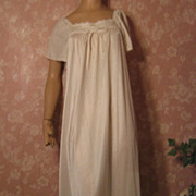 Vintage Nightgown Val Mode L Shimmer White Straie Flutter Sleeve Flowing L