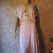 Vintage Nightgown Jenelle Pink Long Frilly Soft Extra TALL 63""