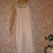 Vintage Nightgown Demure Long pink Silky nylon embroidered chiffon inset M L