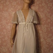 Vintage Nightgown Peignoir Set Bridal White Chiffon Waltz Length S M