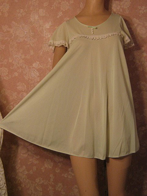 Vintage Nightgown Peignoir Robe Set Babydoll Mint Lorraine Dolly Tent Trapeze