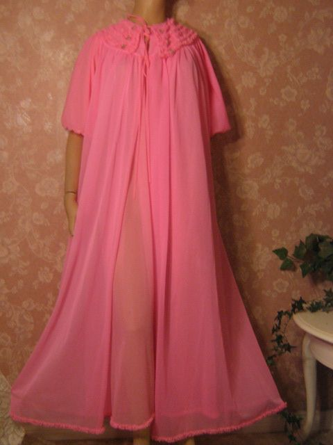 Vintage Nightgown Peignoir Robe Sheer Pink Chiffon Sm Med Ruffle Hem Long
