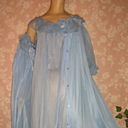 Vintage Nightgown Peignoir Robe Set Adonna NWOT Blue Chiffon S M Elegant