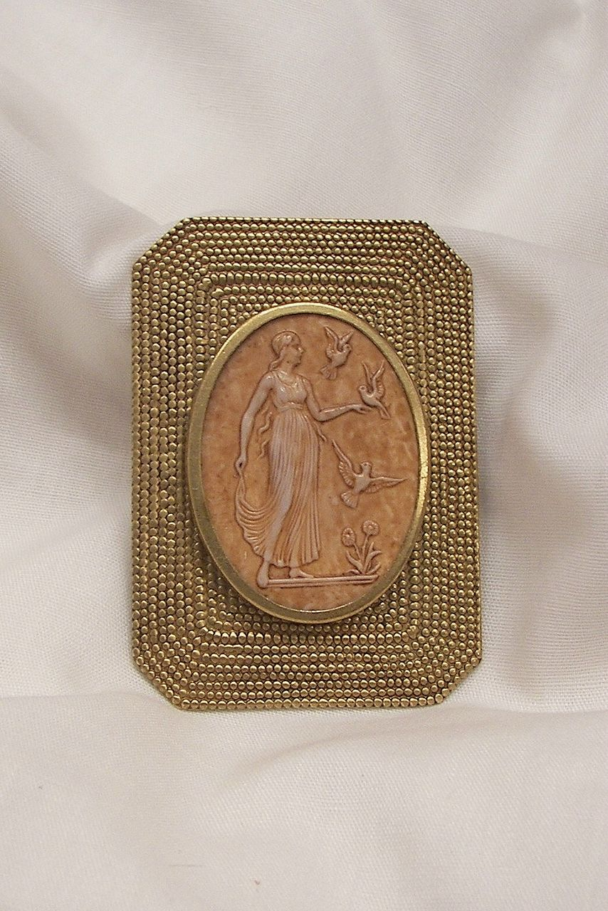 Unique and lovely Art Deco style Lucite carved cameo Brooch Detailed deco style woman with Birds