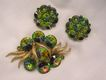 Gorgeous Rivoli watermelon Rhinestone Brooch Earring Set Purples greens pinks