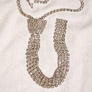 SALE Outstanding Vintage all Rhinestone Neck Tie Necklace
