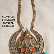 SALE Outstanding Florenza Etruscan revival Necklace elaborate figural enamel dangle bead desig