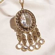 SALE Gorgeous Goldette Jour Bevel cut Large light Grey glass Smokey Crystal with dangling Crys