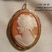 SALE Beautiful cameo woman portrait 1/20 12k GF Brooch with Pendent bale option