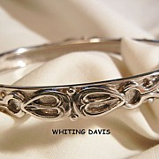 SALE Whiting Davis Co Beautiful Silver tone side open Bangle Bracelet