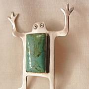 SALE Wonderful Sterling Navajo Frogman Turquoise belly Brooch Marked Woods