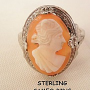 SALE Victorian Sterling portrait cameo Ring