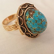 SALE Bold beautiful Simulated Turquoise  perfume Locket Ring Vanda USA