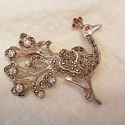SALE Very pretty vintage sterling marcasite Peacock Brooch