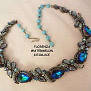 SALE Rare Florenza blue purple watermelon simulated turquoise rhinestone Necklace