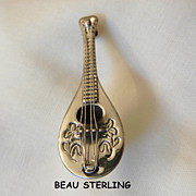 SALE Exquisite vintage Beau Sterling Mandolin Brooch