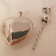 SALE Fantastic art Nouveau style sterling heart perfume bottle Necklace