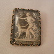 SALE Beautiful Incolay Diana the Huntress Brooch