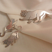 SALE Fantastic Mexico 925 Walking Panther Brooch and Earring Set