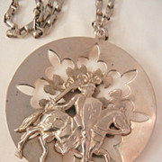 SALE Huge rare Fleur de Lies lily of the valley cut out riveted Knight on a horse Necklace