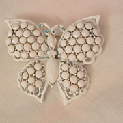 SALE Beautiful Milk glass white enamel Butterfly Brooch