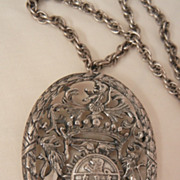 SALE Fantastic huge Germany four lion shield Brooch Necklace