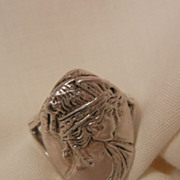 SALE Gorgeous Sterling Art Nouveau Portrait Ring Size 7 1/2