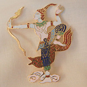 SALE Fantastic vintage cloisonne Asian snake Charmer Brooch