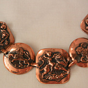 SALE Fantastic Cherubs riding lions Copper Bracelet