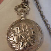 SALE Running Elks simulated Pocket watch Fob perfume Locket Necklace