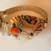 SALE Fabulous old pawn sterling Eagles Coral watch Band