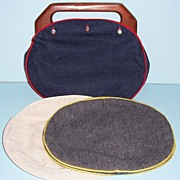 "SOLD Bermuda Style~ Handbag with 3 Covers and Wooden Handles~ Made by ,""The Beehive"""