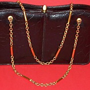 SOLD Meyers' ~Vintage, Black, Faux Reptile  Handbag~ 2 Chain Handles!