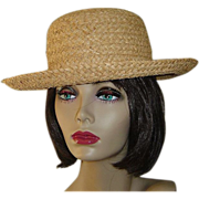 Vintage Straw Hat with Upturned Brim
