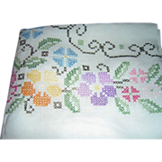 SALE Gorgeous Floral Cross-Stitched Large Linen Tablecloth