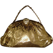 SALE Whiting & Davis Goldtone Mesh Evening Bag with Rhinestone Clasp