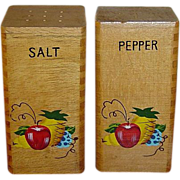 Vintage Hand Painted Tall Wooden Salt and Pepper Shakers