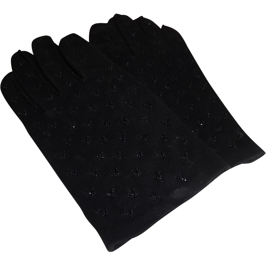 Beautiful Black Beaded Girl's Gloves