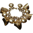 Bold 1960's Goldtone Chunky Charm Bracelet