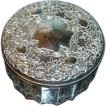 Vintage Dresser/Trinket Jar with Embossed Silvertone Metal Lid