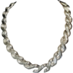 Vintage Napier Textured Silvertone Metal Link Necklace