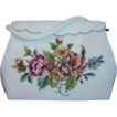 Elegant Hand Made White Beaded and Floral Tapestry Handbag Purse